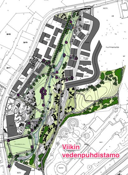 Suunniteltu puisto ja tuleva rakentaminen