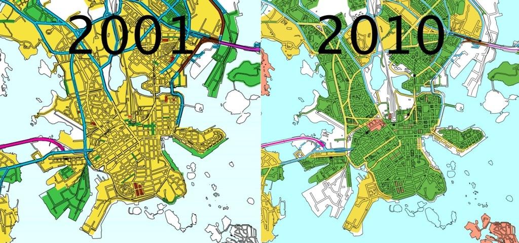 Keltainen 40km/h, vihreä 30 km/h, sininen 50 km/h.