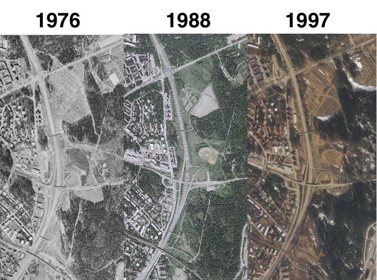 Keskuspuistoa Hämeenlinnan väylän varressa eri vuosikymmenillä. Ikimetsää se ei ole. Kaavoittajan pikselit ovat kohdissa, joissa metsä on varsin nuorta.